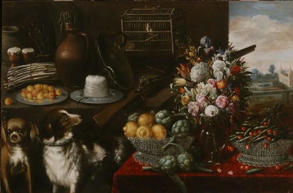 Francisco Barrera, Máj (Zátišie s ovocím, zeleninou a kvetinami).