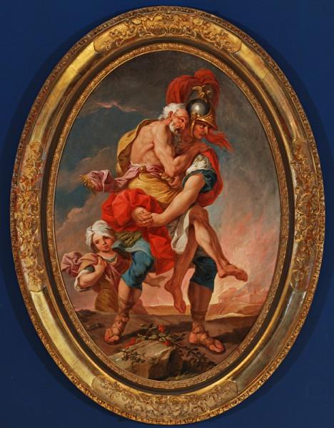 Central European artist - J. H. Schönfeld (?), Aeneas Saves Anchises from Burning Troy