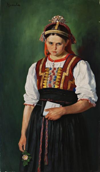 Jozef Hanula, Dievča s kvietkom (replika obrazu Za frajerom)