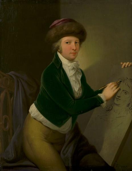 Ján Jakub Stunder, Portrét grófa Hadika načrtávajúceho portrét umelca