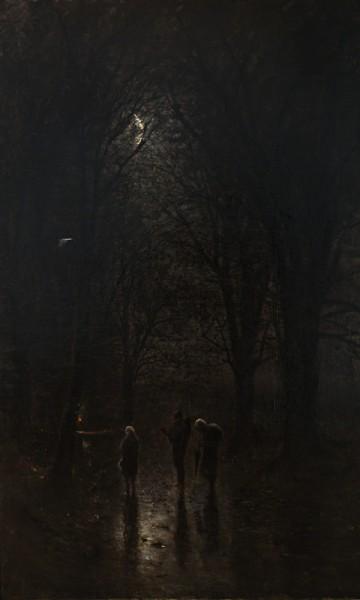 Ladislav Mednyánszky, Noční pútnici pri kríži. Cesta lesom