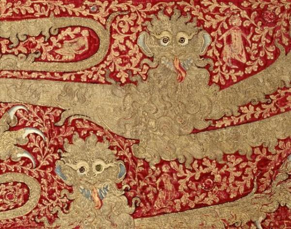 Fragment výšivky: Leopardy , Taliansko (zamat), Anglicko (výšivky)