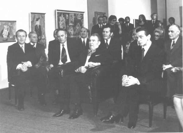 Photo: Photo-Department of the Slovak National Gallery, Ľudovít Fulla's 74th birthday anniversary, master in the center, on his left is Minister of Culture Miroslav Válek