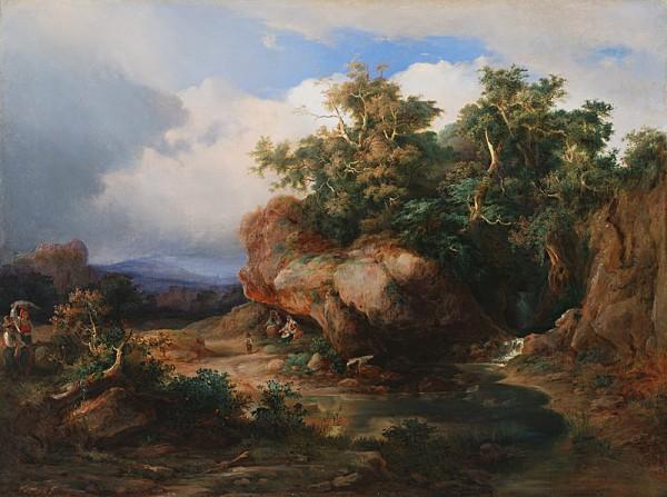 Karol Vandrák, Romantická krajina s figurálnou stafážou