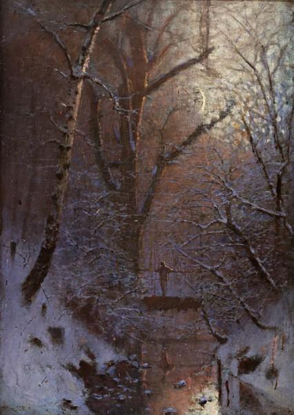 Ladislav Mednyánszky, Zima (Zimná noc. Pohľad z mesta. Postava na moste)