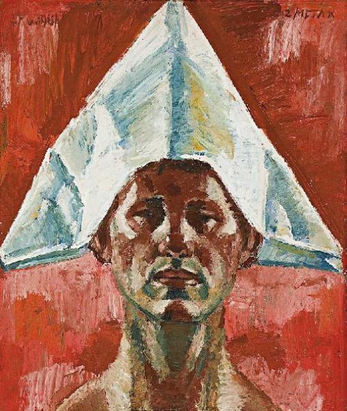 Ernest Zmeták, Selfportrait with Paper Hat