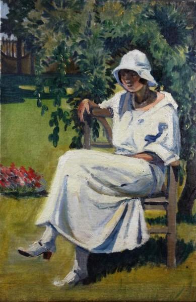 Margita Czóbelová, Woman Sitting in the Park